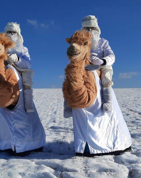 Zwei Eismänner auf ihren Kamelchen und die Eiskönigin