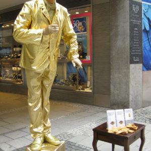 "Lebende Statue ""Silber-/Goldmann, Goldfrau"""