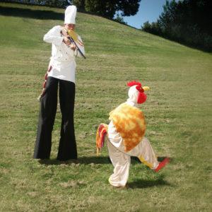 Stelzen Koch mit Huhn